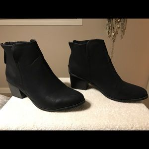 Black faux leather ankle booties, Maurices brand